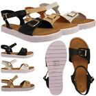 WOMENS LADIES ROMAN STYLE FLATFORM BUCKLE HEEL STRAP ANKLE PLATFORM SANDAL SHOES