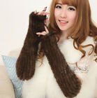 New Real Knitted Mink Fur 2 Color Winter Mittens Gloves Scarf A476