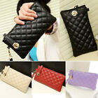 New Women Clutch Purse Bag PU Leather Satchel Fashion Handbag Rhombus Pattern