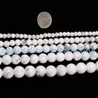 "Natural White Howlite Stone Round Beads For Jewelry Making Gemstone 15""4mm-16mm"