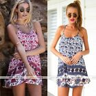 Sexy Women Summer Casual Elephant Flower Cocktail Party Evening Beach Mini Dress