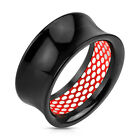 Pair Black Acrylic Inner Red Lace Pattern Inlaid Saddle Tunnels Earrings Gauges
