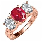 5.30 Ct Natural Last Dance Pink Mystic Quartz 925 Rose Gold Plated Silver Ring
