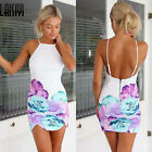 New Lady's Sexy Strap Floral Backless Sheath Bodycon Summer Party Cocktail Dress
