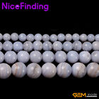 Blue Chalcedony Natural Stone Round Jewelry Making Loose Beads Gemstone 15""
