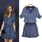 Plus Size Womens Summer Dress 2015 Floral Print Short Sleeve Casual Party Dress