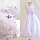 Gorgeous Lilac/iris/purple flower girl party dress all sizes FREE HEADPIECE