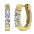 Unique VVS1/D 0.75Ct Natural Diamond 14Kt Gold Hoops Huggie Earrings Appraisal