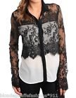 Creamy Off White/Black Lace Overlay Long Sleeve Button Front Top S M L