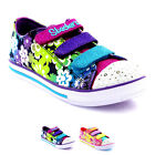 Kids Girls Skechers Chit Chat Glint And Gleam Light Up Velcro Trainers UK 9.5-5