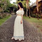 Off Shoulder Bandeau Top Long Skirt Hollow Lace Holiday Beach Boho Maxi Dress