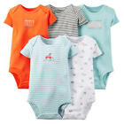 Carter's Boys 5 Pack Orange/Grey/White/Light Blue Short Sleeve Lap Shoulder Body