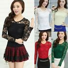 Hot Sexy Womens Long Sleeve Top Ladies Lace T-Shirt Tops Women Loose Blouse