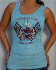Sinful by Affliction - STANCE - Woman's Tank Top with Rhinestones - Light Blue