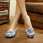 Women Embroidered Slippers Shoes Chinese  Blue And White Porcelain