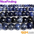 "Natural Sodalite Loose Beads For Jewelry Making Gemstone 15"" 3,4,6,8,10,12,14mm"