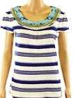 Monsoon Blue Cream Ivory Short Sleeve Beaded Top T Shirt RRP £35 Size 12