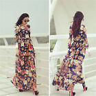 Womens Plus Size Boho Floral Print Vintage Cocktail Evening Party Maxi Dress