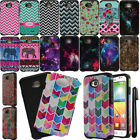 For LG Optimus L70 MS323 Layer Slim Armor Bumper Hybrid Hard Case Cover + Pen