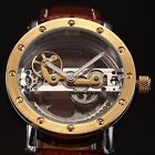 Steampunk Transparent Crystal Skeleton Mens Automatic Mechanical Wrist Watch UK