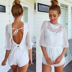 Women's White Half Sleeve Solid Backless Sexy Fashion Jumpsuit Pants Romper - LD