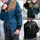 Mens Casual Leather Splice Jacket Cotton Padded Winter Warm Coat Overcoat Tops
