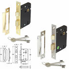 3 Lever Mortice Lock Sash Lock 65mm & 78mm Brass & Nickel Plated Made in Germany
