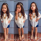 Hot Baby Girls Lace Vest T-Shirt Jeans Shorts 3PCS outfit Set Clothing 1-5 Years