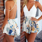 Nice Summer Women Sexy Backless Short Deep V Neck Lace Mini Floral Rompers BDAU