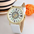 Women Vintage Feather Analog Watches Dial Leather Band Quartz Unique Wrist Watch