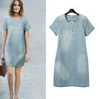 Summer Women Jean Denim Dress Loose Short Sleeve Bead Hot Casual Dress Plus Size