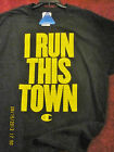 T shirt I run this town tire tracks letters yellow graphic top tee shirts L Last