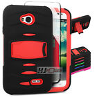 For ZTE Overture SERIES Armor Hard Rubber w Q Stand Case Colors