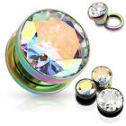 Pair Large Clear or AB Gem Titanium IP Screw Fit Tunnels Earrings Plugs Gauges