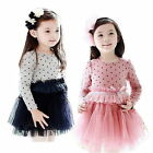 Toddlers Girls Kids Cotton Tulle Tutu Dresses Dot Kids 2-7Y Clothing Long Sleeve