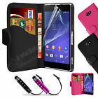 New Leather Flip Wallet Case Cover For SONY Xperia M2 Free Screen Protector