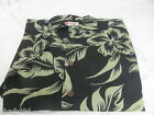 NEW HILO HATTIE Hawaiian Original Camp Shirt Black Green Cotton Pocket