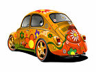 VW BEETLE ORANGE FRAMED CANVAS ART PRINT A0 A1 A2