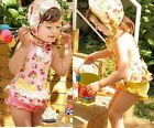 Toddler Girls Cherry Blossoms Tankini Swimwear + Hat Pink Yellow Swimsuit 2-7Y