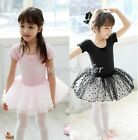 Girl Short Sleeve Leotard Ballet Tutu Costume Dance Skirt Dress 2-7Y Pink Black
