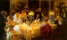 THE DINNER PARTY SOCIETY FASHIONABLE RICH PEOPLE PAINTING BY JULES GRUN REPRO