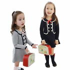 Sweet Kids Girls Long Sleeve Button Dress Cotton Preppy School Lapel One-Piece