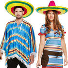 Mexican Poncho + Sombrero Hat Adults Fancy Dress Wild West Mens Ladies Costume