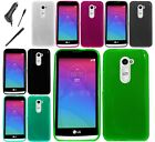 For LG Tribute 2 Color Flexible TPU Crystal Skin Cover Case CAR CHARGER STYLUS