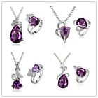 Fashion Silver Plated Fancy ball drop shaped pure purple zircon luxury suit P-1