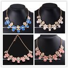 Golden Chain Crystal Faceted Bead Dangle Flower Pendant Necklace Womens Jewelry