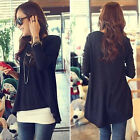 2014 New Women  Shirt Sexy Irregular long Sleeve T-shirt Top Blouse Black  CAHF