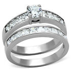 SALE Stainless Steel Cz Brilliant Princess Engagement Wedding Ring Set