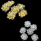 6Pcs 20mm Flower Alloy Gold Silver Clear Rhinestone Buttons Sewing Shank Button