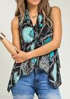 Turquoise Leopard/Chain Patch Print Scarf/Tie Neck Sleeveless Blouse Top S M L